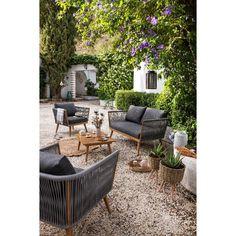 CAP Salon de jardin 4 places en résine imitation rotin avec ...