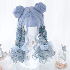 Blue Wigs Lace Frontal Hair Kylie Jenner Blue Wig Hair Light Human Hair Bob Wigs For African American Anime Wigs, Anime Hair, Cosplay Hair, Cosplay Wigs, Kawaii Hairstyles, Pretty Hairstyles, Frontal Hairstyles, Wig Hairstyles, Lace Front Wigs