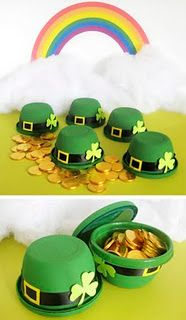 Painted Gladware Leprechaun Favor Boxes