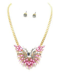 Loving this Pink Crystal Wingspan Bib Necklace & Stud Earrings on #zulily! #zulilyfinds