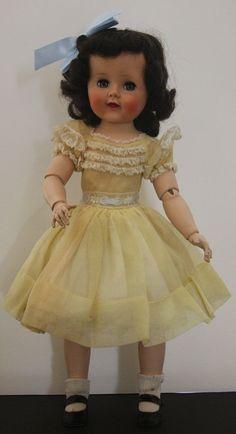 "Madame Alexander ""Madelaine"" 18"" doll Black Hair Yellow Dress"