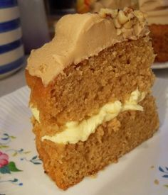 *Coffee and Walnut Cake*...A sandwich cake filled with a luscious buttercream icing and topped with a coffee Creme Au Beurre