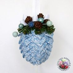 Pine Cone Quilted Christmas Ornament   Blue & White by QuiltedKpskOrnaments, $20.00