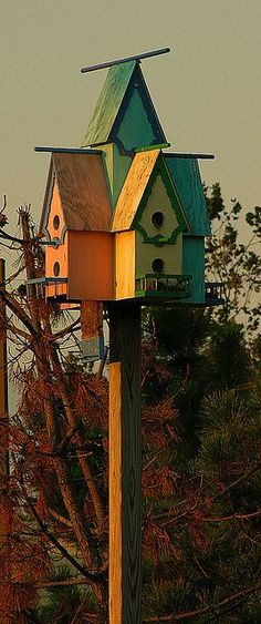For the birdies in our garden! <3shell - charming little color coordinated birdhouses