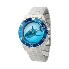 Men's Discovery Channel Shark Week Honor Stainless Steel Watch ($63) ❤ liked on Polyvore featuring men's fashion, men's jewelry, men's watches, silver, mens sport watches, blue dial mens watches, mens watches, mens stainless steel watches and mens sports watches