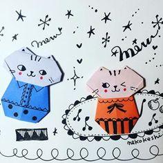 ミャー。ミャー。 どこぞのツインキャッツ(^.^) #cat #origami #ねこけし #おりがみ