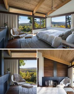 This modern master bedroom has large windows, a sloped wood ceiling and a fireplace. Bedroom Fireplace, Wood Bedroom, Fireplace Windows, Home Decor Bedroom, Bedroom Setup, Bedroom Ceiling, Modern Wood House, Modern House Design, Cedar Walls