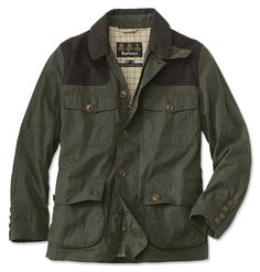 Barbour's Hackerton offers traditional field coat styling yet with an ultrasoft shell made from a waterproof, breathable cotton blend. This full-front zip jacket features a traditional button-front storm flap as well as four exterior button-flap pockets-the lower two are trimmed with leather. Shooting patches on both shoulders, underarm grommets, throat latch that offers added protection from wind and cold. Interior is lined with Barbour signature tartan; sleeves are polyester lined for…