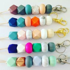 Colourful and durable Totem silicone bead keyrings www.desertjewellery.bigcartel.com