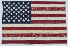 American Flag Patriotic Red White and Blue Wall Quilt or Table Topper Quiltsy Handmade Rag Quilt, Quilt Bedding, American Flag Quilt, Quilt Of Valor, Patriotic Quilts, Calico Fabric, Traditional Quilts, Quilt Sizes, Patriotic Decorations