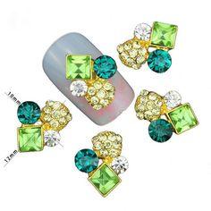 2 PCS. Emerald Pinapple 3D Nail Art Charm Decoration w/ CZ Stones