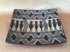 Tribal Pottery Dish, Primitive Home Decor, Hand Painted, Mud Ceramics, Black and Tan, Bisque Finish, Vintage Aztec Style, Square Plate,