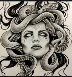 Explore collection of Medusa Head Drawing Medusa Tattoo Design, Tattoo Design Drawings, Tattoo Sketches, Tattoo Designs, Cool Drawings, Tattoos Bein, Dope Tattoos, Leg Tattoos, Body Art Tattoos