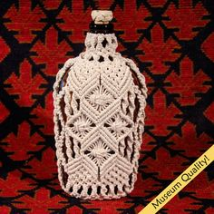 Macrame Covered Antique Bottle circa 1930s by MacrameBottles, $595.00