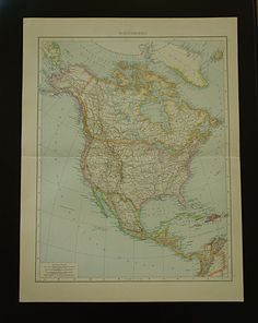 1840 antique map of North America lovely original old print