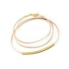 Leather Plated Wrap Bracelet  - Rose Gold//