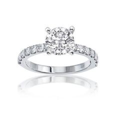 Fink's Platinum Four Prong Round Diamond Engagement Ring
