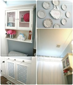 Antique plates, wallpapered medicine cabinet, picture frame molding w knobs and wallpaper, breadboard ceiling
