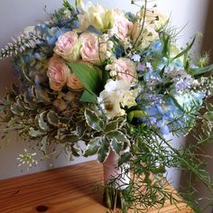 Sweet bouquet of hydrangea, Veronica, spray roses, Lily of the valley, forget me nots.