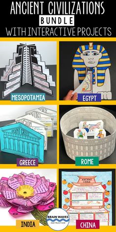 If you're teaching ancient civilizations in sixth grade (or any grade for that matter), your students will love this set of ancient history learning stations, fact hunts, and ancient history projects…More History Activities, Teaching History, Learning Activities, Drawing Activities, History Education, 6th Grade Social Studies, Teaching Social Studies, Ancient Civilizations Lessons, Ancient World History
