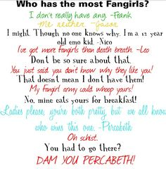 Don't mess with Percabeth. I love the different hints at funny moments.
