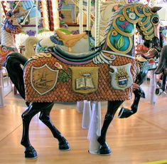 National Carousel Association - Riverfront Park Carousel - Outside Row Armored Stander