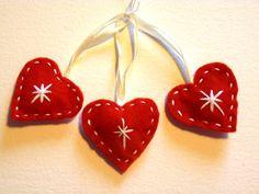 Set of 3 Handmade Felt Heart Decorations by FudgeandPoppy on Etsy, £4.00