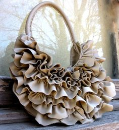 Natural Edge Ruffle Bag in Beige Leather by Stacy by stacyleigh, $395.00