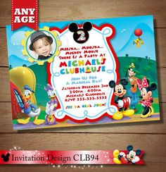 ON SALE Minnie Mouse Clubhouse Invitation, Mickey Minnie Daisy Donald Goofy Birthday Invitation, Clu