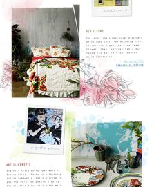 the hand-drawn and painted embellishments....and the scrapbook type layout    from anthropologie.com