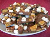 S'mores Bark.  A fun candy to do with kids.  Maybe a 4-H cooking class idea. :-)