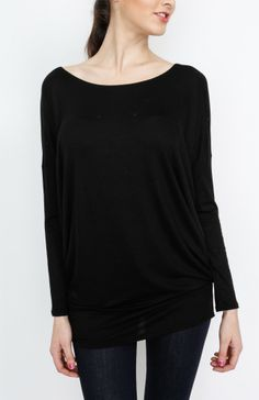 Black Knit Long Sleeve Top - #WholesaleTops, #Casual #DayTops, #Dressy #Chic #Trendy, #Solid, #Spring #SpringWear, #CloseoutTops