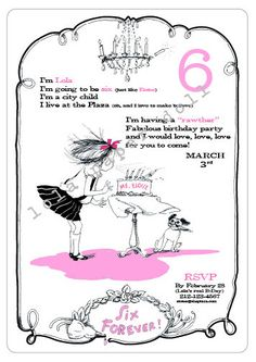 Eloise at the Plaza Birthday Invitation Printable (or already printed available for extra charge) Etsy - lolapaperdoll
