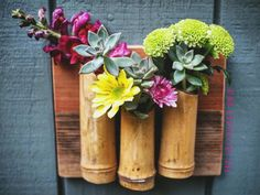 Bamboo reclaimed wood vertical wall hanging planter perfect for succulents and flowers MADE TO ORDER