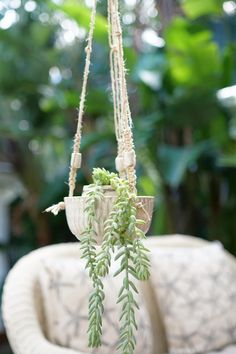 Luha Planter Medium - Macrame - Hanging planter - Hand made - Pottery - Ceramic beads by Mudhavi on Etsy