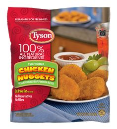 Everyone loves Tyson® Chicken Nuggets. They're made with all natural ingredients, with no preservatives or fillers, and trans fat per serving. They're crispy on the outside and tender and juicy on the inside. They're an easy finger food that kids love. Broccoli Potato Soup, Chicken Mashed Potatoes, Dried Potatoes, Chicken Broccoli, Breaded Chicken Tenders, Chicken Nuggets, Fried Chicken, Chicken Meals, Chicken Bacon Ranch Bake