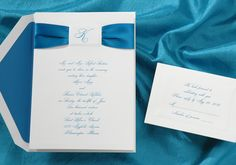 Blue and White Wedding Ideas - Ribbon Wedding Invitations by Occasions In Print  (Invitation Link - http://www.occasionsinprint.yourinvitationplace.com/Detail.aspx?ItemNum=T1540PC&WebName=occasionsinprint)