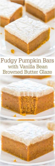 Fudgey Pumpkin Bars http://www.averiecooks.com/2014/09/fudgy-pumpkin-bars-with-vanilla-bean-browned-butter-glaze.html
