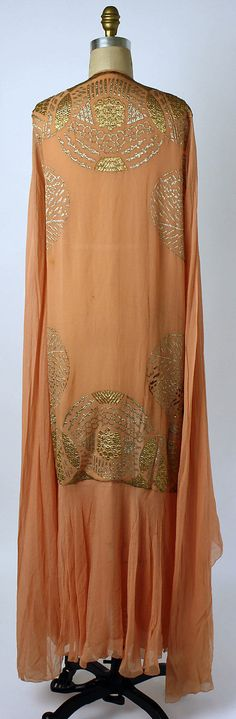 Dress (Tea Gown)    Date:      1920s  Culture:      American  Medium:      silk, metallic thread