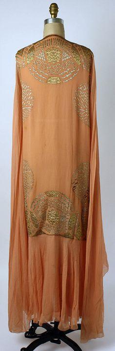 Tea gown Date: 1920s Culture: American Medium: silk, metallic thread. Back