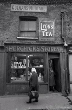 Stores, East End of London. We love shops and shopping. That's it - , /shoppedinternational and /shoppedPerchick's Stores, East End of London. We love shops and shopping. That's it - , /shoppedinternational and /shopped Victorian London, Vintage London, Victorian Street, Vintage Pictures, Old Pictures, Old Photos, 1920s Photos, London History, British History