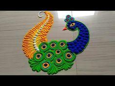 Very easy peacock rangoli - Simple Craft Ideas Easy Rangoli Designs Videos, Easy Rangoli Designs Diwali, Rangoli Simple, Simple Rangoli Designs Images, Free Hand Rangoli Design, Small Rangoli Design, Rangoli Ideas, Beautiful Rangoli Designs, Diwali Rangoli