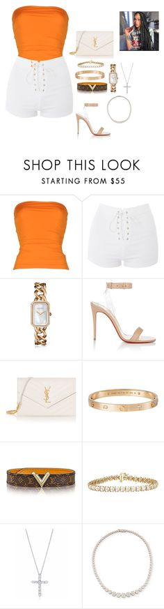 """""""Rooftop day party"""" by conceitedlo ❤ liked on Polyvore featuring Plein Sud, Topshop, Chanel, Christian Louboutin, Yves Saint Laurent, Cartier, Tiffany & Co. and Zydo"""