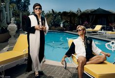 Michael Douglas and Matt Damon in costume as Liberace and Scott Thorson on the set of Behind the Candelabra in Los Angeles, photographed by Norman Jean Roy.