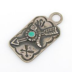 Old Pawn Navajo Sterling Silver Turquoise Snake Arrow Tag Charm Pendant G B | eBay