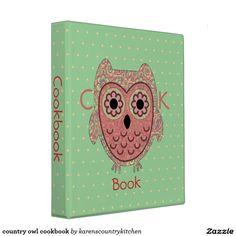 country owl cookbook 3 ring binder