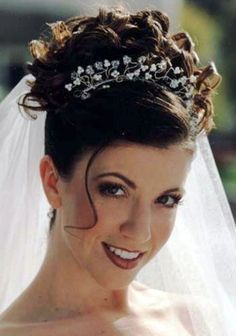 wedding curly updos with tiara and veil - Google Search