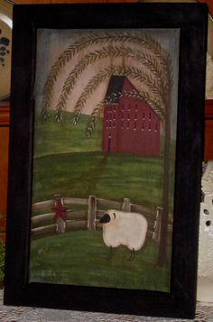 Lovely scene Primitive Sheep, Primitive Country Homes, Country Paintings, Art Paintings, Original Paintings, Tole Painting, Painting Patterns, Primitives, Paint Ideas