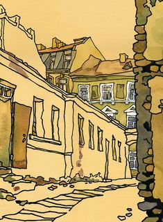 "UZUPIS #3, ink and watercolor, 2003 Jonas Mekas Crosswind Street in Vilnius Old Town, Lithuania Original drawing size: 44x60 cm ● High quality print on canvas of my original artwork. ● Print sizes in cm: 22x30, 30x40, 37x50, 44x60 cm ● Print sizes in inches: 9x12, 12x16, 15x20"", 18x24"" ●"