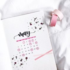 Bullet journal monthly cover page, May cover page, rose doodles, washi tape. | @letteringwithleni